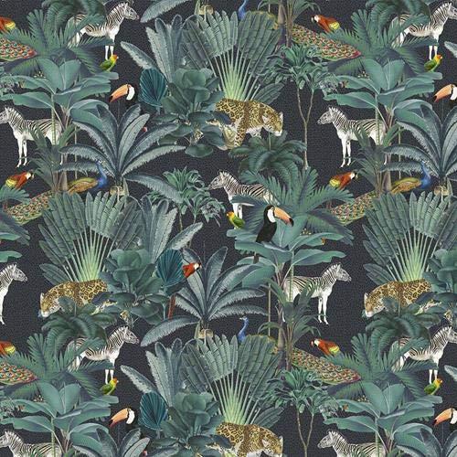 100 % bomull överlägsen bomull palmblad tukan påfåglar leoparder papegojor i djungeln 140 cm bred (kunglig palm – 1) (kvartal)