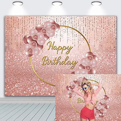 Fondo para fotografía de oro rosa rosa con globos florales de oro rosa para niñas dulces y mujeres, 16, 30, 40, 50, cumpleaños, fiesta, postre, decoración de mesa, accesorios de 20 x 15 cm