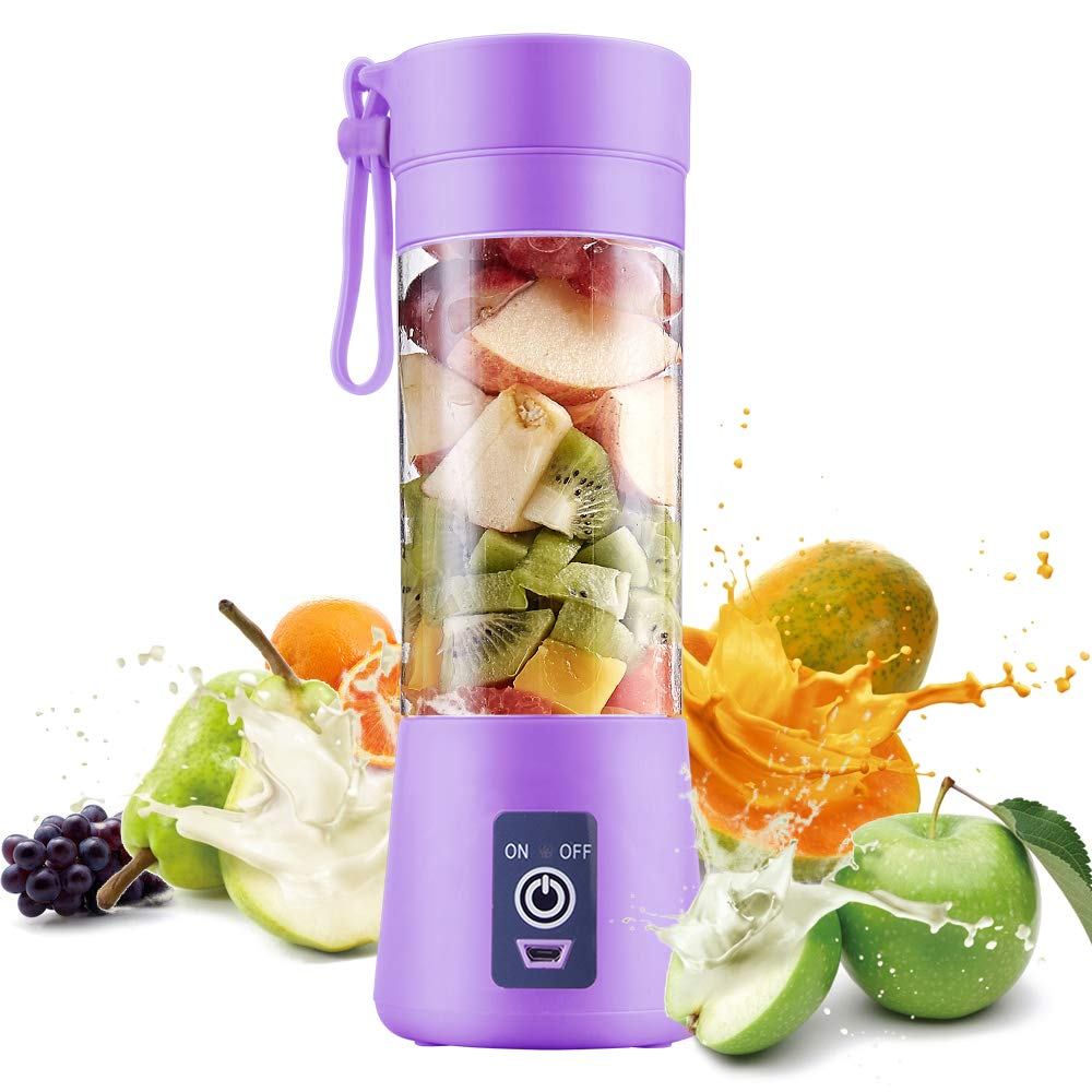 Electric USB Juicer Blender Portable Juicer Cup 380ml Water Bottle Juicer Machine with 6 Blades, 2000mAh Rechargable Battery (Purple)