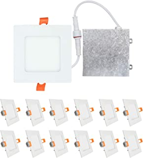 OSTWIN (12 Pack) 4 inch 9W (45 Watt Repl.) IC Rated LED Recessed Low Profile Slim Square Panel Light with Junction Box, Dimmable, 3000K Warm Light 630 Lm. No Can Needed ETL & Energy Star Listed