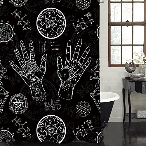 MitoVilla Cool Boho Palmistry Hand Shower Curtain Set with Hooks, Mysterious Bohemian Tribal Elements Bathroom Accsessories for Ethnic Home Decor, Black and White, 72' W x 72' L Standard for Bathtub