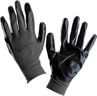 SAFE HANDLER Nitrile Firm Grip Work Gloves | Lightweight, Breathable Lining, Fitted Wrist, Non-Slip Grip, Abrasion Resista...