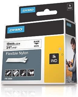DYMO 18489 Rhino Flexible Nylon Label Tape, 3/4-Inch x 11-1/2 ft, White/Black Print