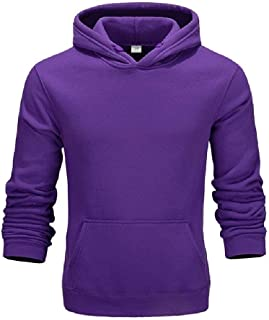 Mogogo Mens College Style Plus Velvet Solid Color Long Sleeve Cargo Pocket Hoodies