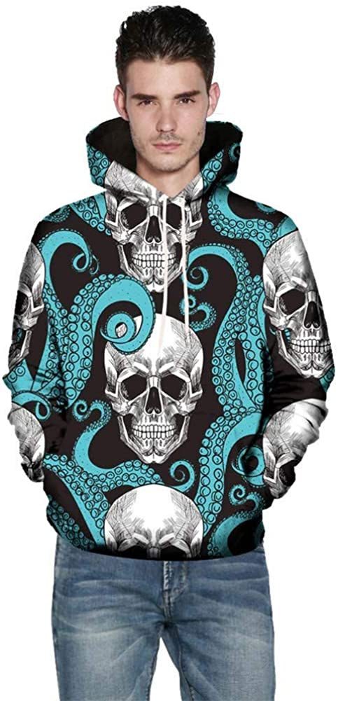 Hoodies Sweatshirt for Men,Vickyleb Unisex 3D Printed Pullover Long Sleeve Fleece Hooded Sweatshirts with Pockets