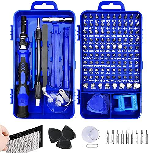 LiRiQi 130 en 1 Juego de Destornilladores de Precisión con Magnetizador, Kit de Herramientas Precision de Reparación de Bricolaje Profesional para iPhones, Smartphone, Cámara, Reloj, Tablet PC