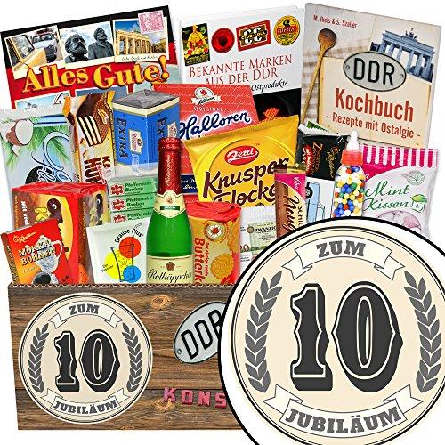 Zum 10. Jubiläum / Süsse Geschenkbox DDR / 10 Jubiläum Glückwünsche