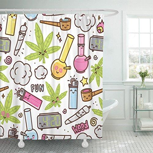 TOMPOP Duschvorhang grünes Unkraut Marihuana Kawaii Cartoon weißes Muster Cannabis Rauch wasserdichtes Polyestergewebe 183 x 183 cm Set mit Haken