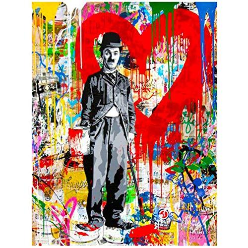 sjkkad Abstrakte Figur Leinwand Charlie Chaplin Moderne Pop Art Kunstdruck Poster Bild Malerei Für Wohnzimmer Und Wohnkultur-50x70 cm Kein Rahmen