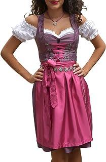 dirndl lila geblümt Golden Trachten Kleid Dirndl Damen 3 TLG, Midi für Oktoberfest, mit Schürze und Bluse