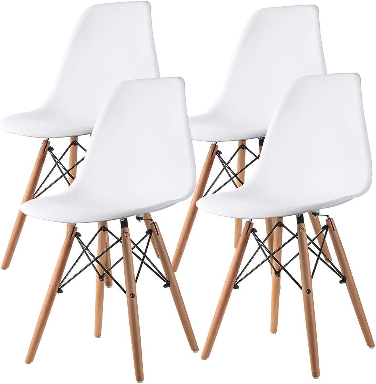 Nidouillet Esszimmerstühle Lounge Chair Küchenstuhl Retro Design Stil Farbe  Wei 4er Set mit stabilen Buchenholzbeinen AB015