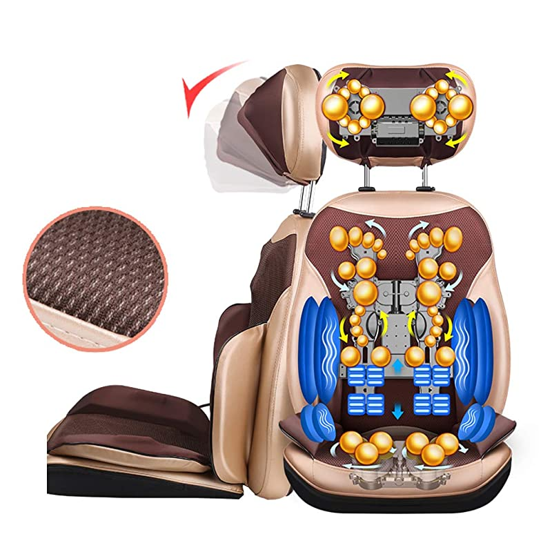 自己大脳却下する電動マッサージシートクッション、マッサージシートクッションパッド指圧バックマッサージパッドヒップランバーウエスト痛みリリーフシートパッド、折りたたみ式と調節可能な多機能クッション