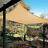 Patio Shack Toldo Vela de Sombra Rectangular 2x3 m, Protección Rayos UV y Poliéster Impermeable para Exterior, Jardín, Terrazas Arena