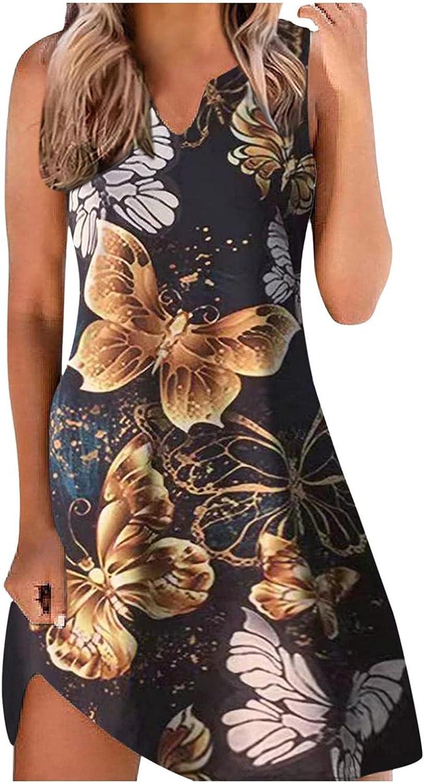 Gerichy Summer Dress for Women 2021 Sleeveless Round Neck Floral Printed Boho Short Mini Sundress Bodycon Beach Dress