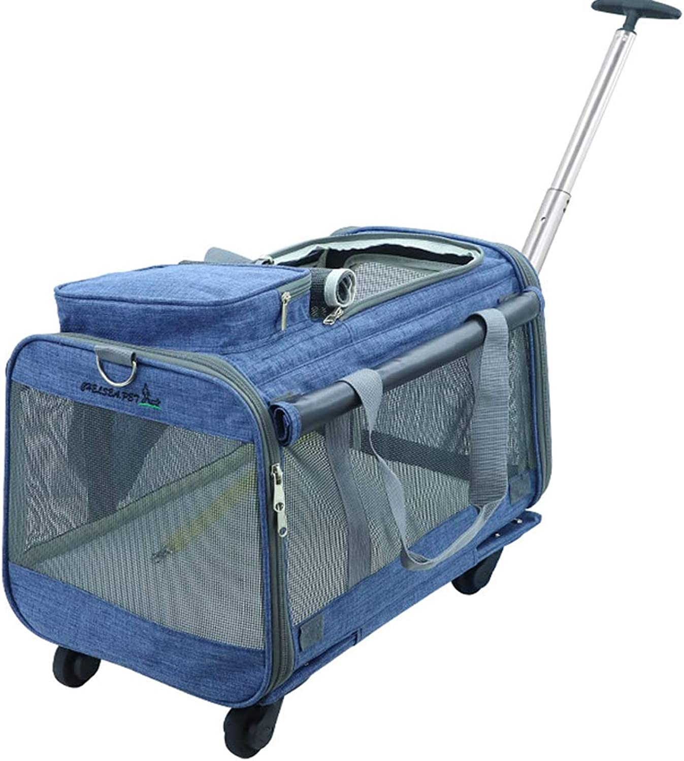 Rantow Foldable Pet Carrier with Removable Wheels  20  x 12 x 11   Rolling Carrier Bag Strollers for Cats Dogs Rabbits Kittens Puppies Travel Hiking Camping (Denim bluee)