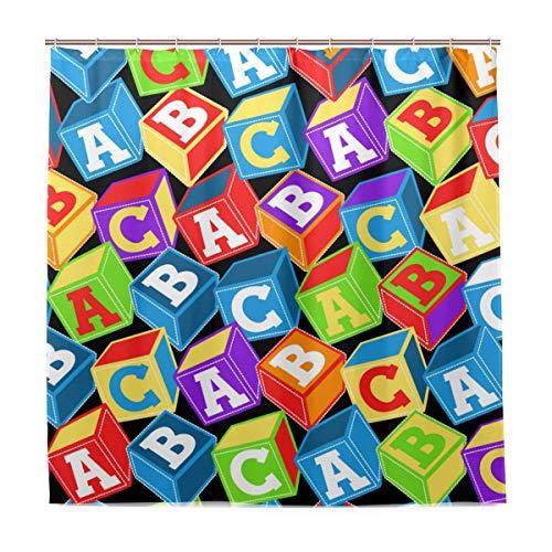 DYCBNESS Duschvorhang,ABC blockiert Muster in vielen Farben,Vorhang Waschbar Langhaltig Hochwertig Bad Vorhang Polyester Stoff Wasserdichtes Design,mit Haken 180x180cm