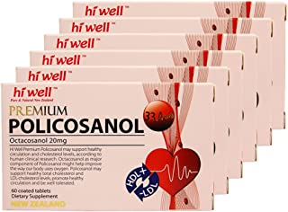 Hiwell Premium Policosanol 33.4mg (Octacosanol 20mg) 60 Tablets (Pack of 6)