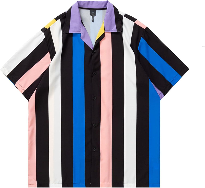 2021 Stylish Hawaiian Shirt for Men Casual Bright Striped Short Sleeve Shirts