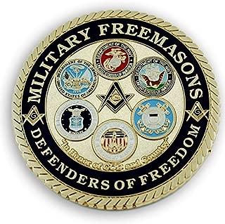 Military Masons Defenders Of Freedom Round Blue & Gold Masonic Auto Emblem - 3