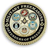 Military Masons Defenders of Freedom Round Masonic Auto Emblem - [Blue & Gold][3'' Diameter]