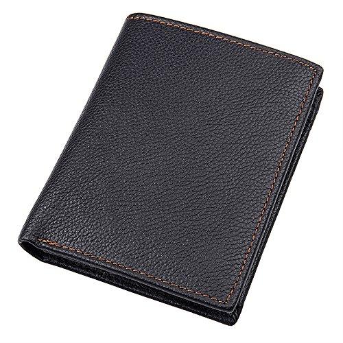 Monedero corto de cuero vintage de cuero de bolsillo vertical para hombre Rosa Negro  talla única