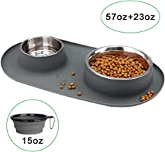 wesen Stainless Steel Dog Bowls, 95 oz, Collapsible Dog Bowl with No Spill Non-Skid Silicone Mat Set, Three Feeder Food Water Bowl for Small Large Dogs, Puppies, Cats and Pets, Pack of 3