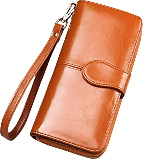 Cckuu Fashion Wax Leather Purse Clutch Wallet Women New Large Capacity Purse Bag