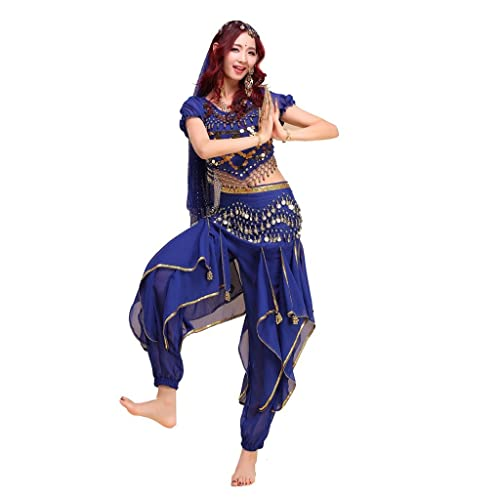 b2a1f9842a758 Best Dance Women s Belly Dance Costume Colorful Top Gold Wavy Pants Hip  Scarf Dark Blue