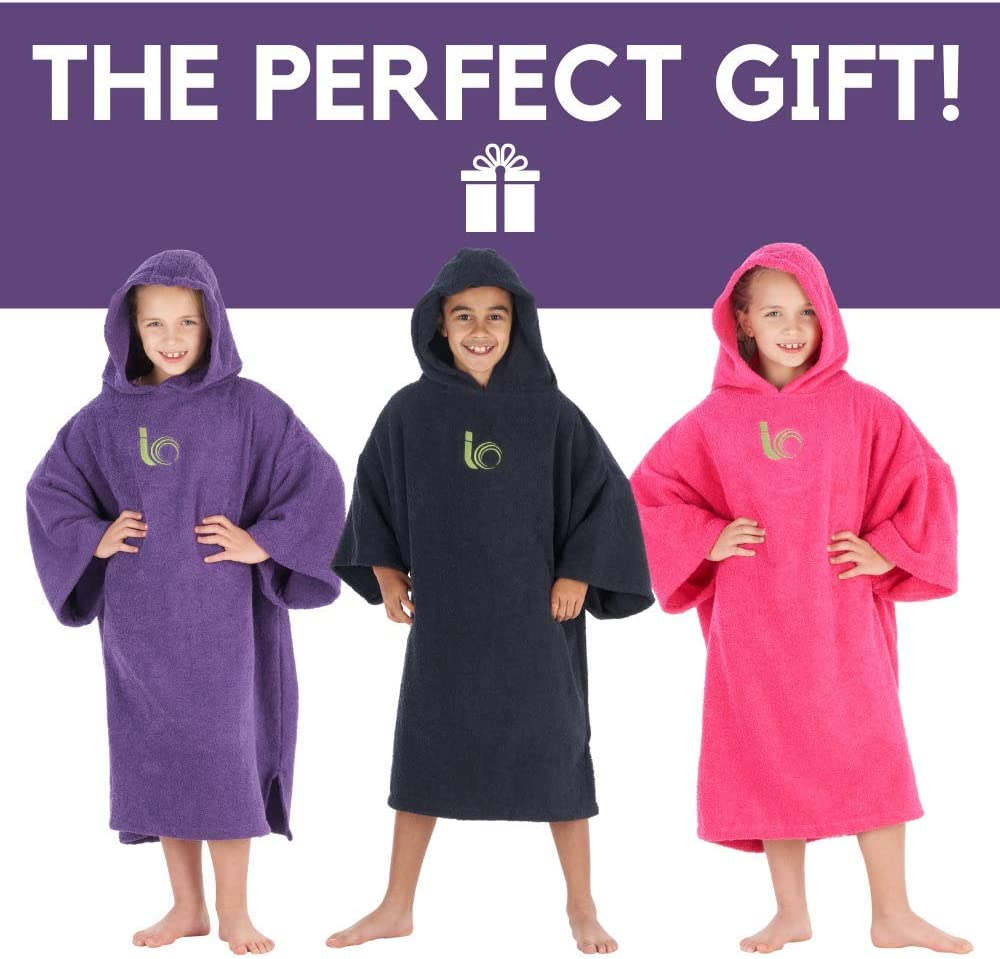 Premium 100/% Cotton Poncho For Beach Swimming Child Indoors and Outdoor Activities Intrepid Outdoors Changing Robe Triathlon Surfing