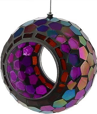 Sunnydaze Outdoor Fly Through Wild Bird Feeder, Unique Hanging Round Mosaic Glass Design, 6 Inch