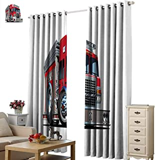Warm Family Truck Decor Curtains Cartoon Style Red Fire Truck Emergency Services Safety of The City Transportation Darkening and Thermal Insulating W72 x L108 Red Pale Grey