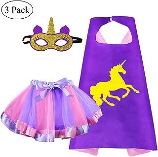Kids Superhero Unicorn-Cape and TuTu Skirt with Mask for Girls Rainbow Dress Up Unicorn Party Favors
