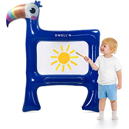 Dwell'n Toucan Giant Inflatable Easel (Giant Blow Up Easel) - a Fun Toucan Design coupled with a Washable Open Painting Canvas Makes for a Great Indoor/Outdoor Activity for Kids
