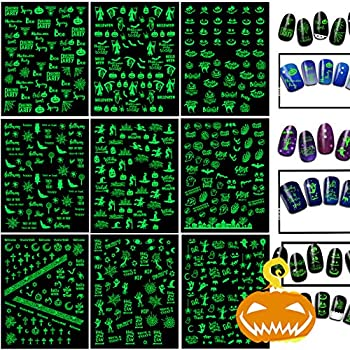 Fluorescent Halloween Nail Decals Stickers Self-Adhesive DIY Nail Art Tips Stencil for Women Girls Kids Manicure 9 Sheets