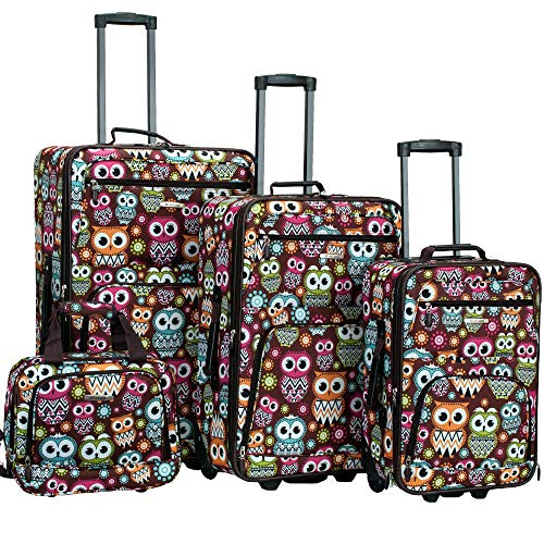 Rockland Jungle Softside Upright Luggage Set, Owl, 4-Piece (14/29/24/28)