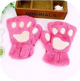 Yunchuang Women Bear Plush Cat Paw Claw Glove Soft Winter Gloves