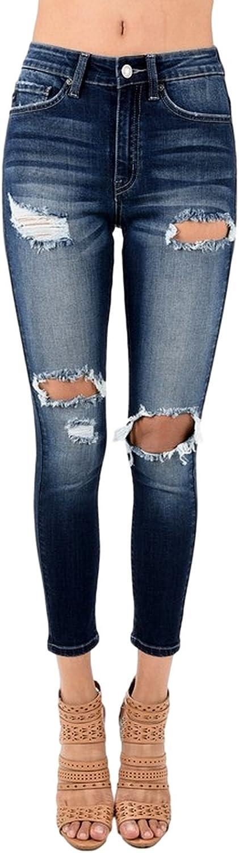 Kancan Women's High Rise Destroyed Skinny Jeans KC6176