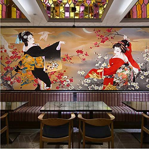 Wuyii 3D-fotobehang, personaliseerbaar, Japanse figuren, retro-behang, wanddecoratie, sushi-tent, restaurant, thema-pot 250 x 175 cm.