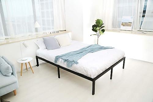 King Size Metal Bed Frame-Steel Slat Mattress Foundation, Heavy Duty Box Spring Replacement, 14 Inch Platform Bedframe, Black