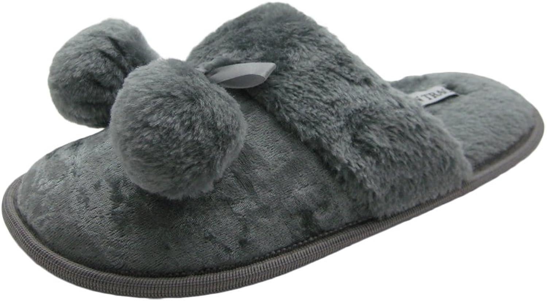 Ellen Tracy Velvet Ladies House Slippers w Pompom & Faux Fur Cuff