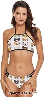 SCOCICI Bikini Swimwear Cats Costume with Glasses Bow Tie Bandanna Cartoon Art