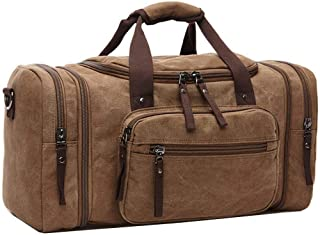 Efuly Unisex Canvas Holdall, Travel Carry On Duffles Bags Overnight Weekend Weekender Bag for Men and Women (Expansion Capacity: 58 * 25 * 30cm) (Brown)