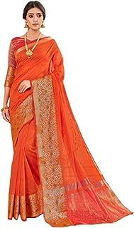 ساري هندي رسمي مصنوع من القطن منسوج مع تصميم Zari Border & Pallu بلوزة مطابقة موديل Sari 6066