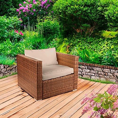 Poly-Rattan Gartenmöbel Lounge Set 15 Modelle 3 Farben 4-12 Personen Sitzgruppe Einzelsessel Braun