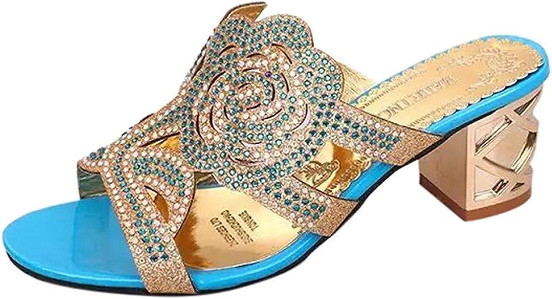 Wallhewb Caopixx Women's Casual Crystal Outdoor Slippers Square Heel Flip Flops shoes Flower Sandals Soft Highten Increasing Comfortable Skinny Leg Length Elegant Joker Black US 5.5 shoes