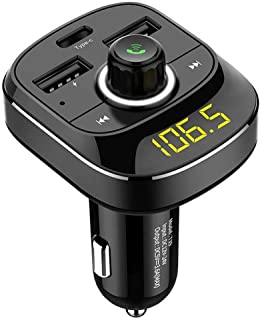 BUDI FM Transmitter for Car, Bluetooth 5.0 Car Radio Audio Adapter with QC3.0 Quick Charge, PD charge port, USB Drive, TF ...