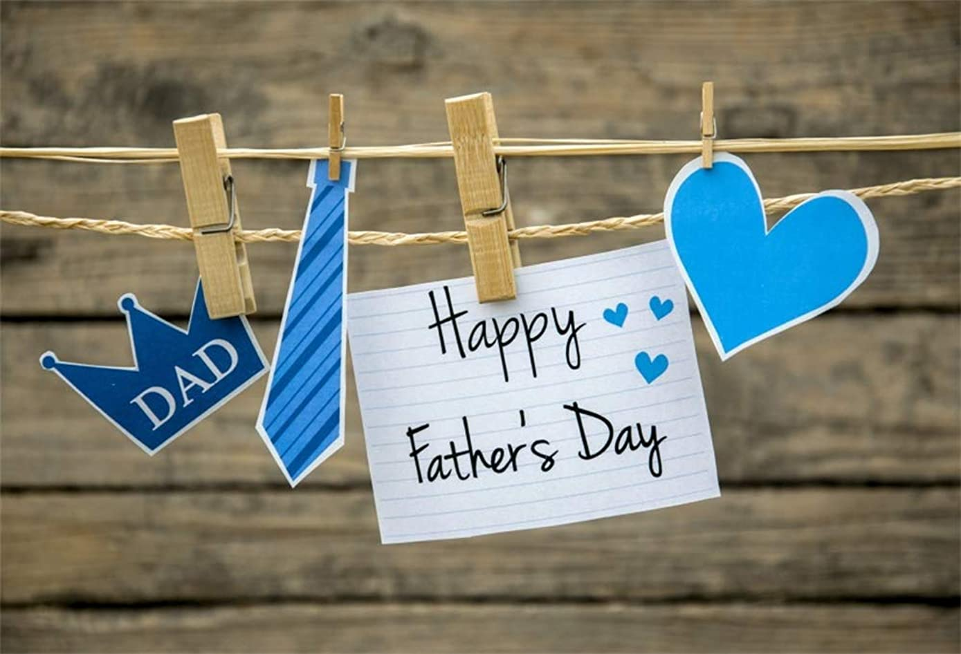 AOFOTO 7x5ft Father's Day Background Paper Crown Tie Love Heart Card Clothesline Wood Clothespins Blurry Wooden Plank Customized Photography Backdrop Festival Celebration Photo Booth Prop