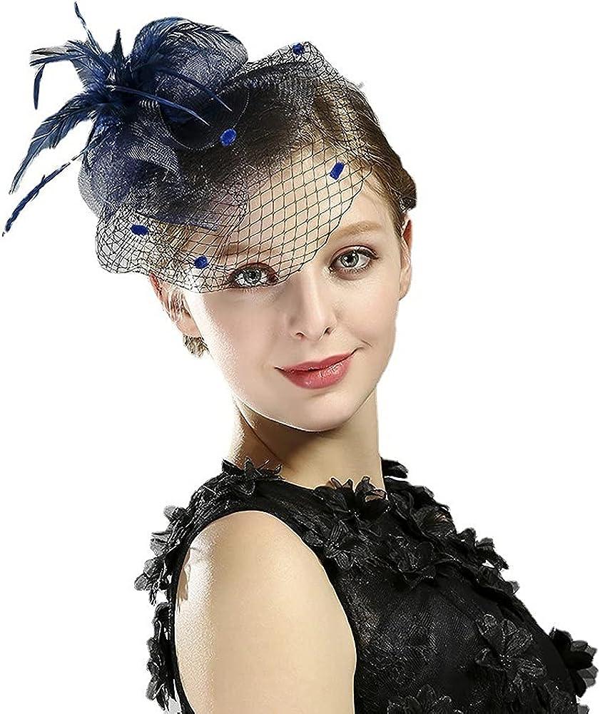 CSBYW Womens Fascinators Hat Tea Party Hats Headband Kentucky Derby Wedding Flower Mesh Feathers Headwear Hair Clip