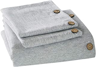MUKKA Microfiber Duvet Cover Queen, 3 Pieces Grey Heather Linen Like Chambray Modern Style with Coconut Button Closure Duvet Cover Soft Luxury & Breathable Easy Care Bed Linen