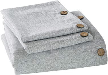 MUKKA Duvet Cover King Grey Chambray Microfiber Brushed, Coconut Button Closure Gray Heather Duvet Covers, Simple Breathable & Easy Care